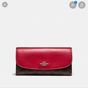 Coach Brown Signature Print and Red Wallet